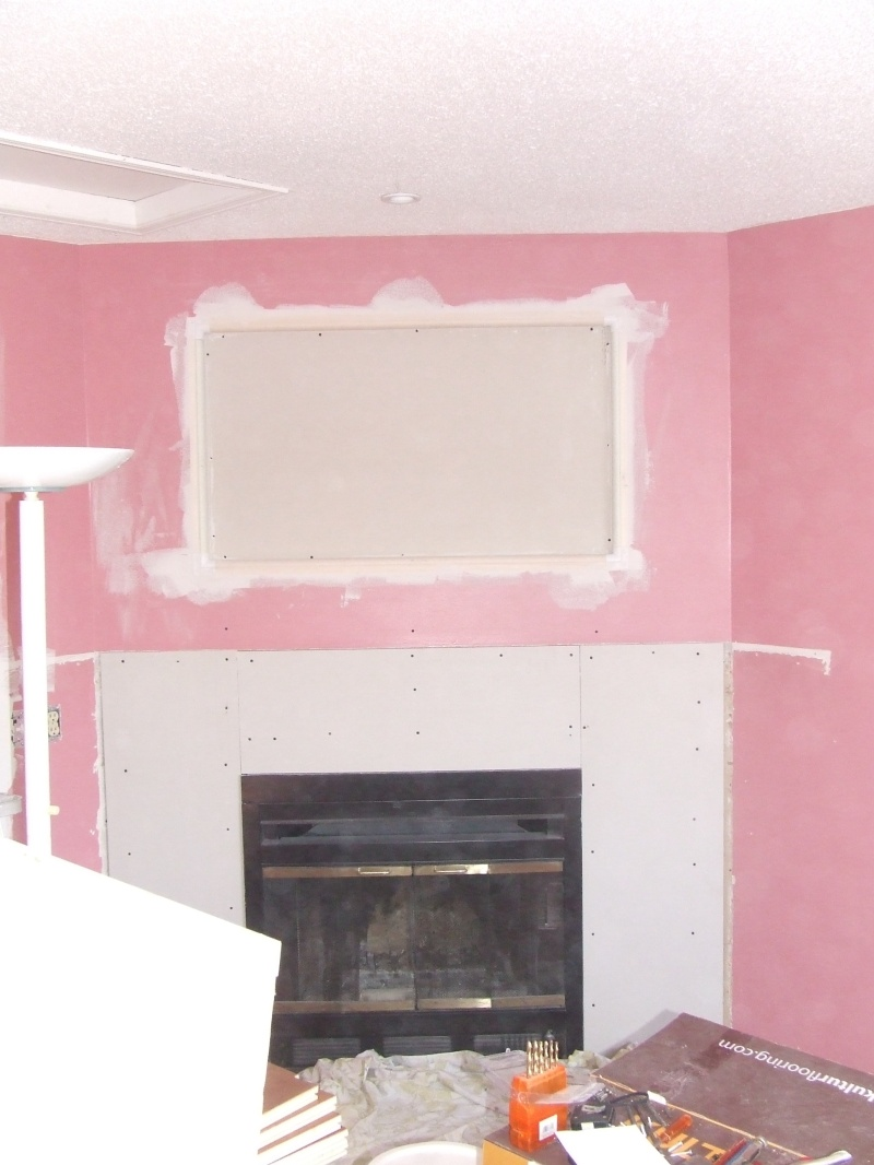 Wall inset over fireplace
